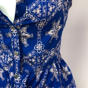 B Jewel Tops - B.Jewel sz Small Blue Button Up Boho Chic Top